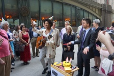 """Olivia K, a preservationist and Brooklyn-based musician, led the crowd in two choruses of """"Happy Birthday"""" in honor of the Penn Central decision's anniversary"""
