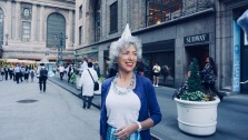 """Preservationist Vivian Awner shows off her """"Birthday Hat"""" in front of Grand Central Terminal. (Photo by Shanique D. Bundy)"""